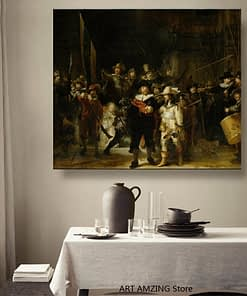 Canvas Rembrandt《The Night Watch》Art Oil painting Artwork Poster Picture Modern Wall decor Home Living room Decoration