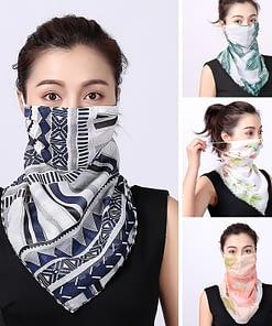 2020 Silk Scarf Women Bandana Face Mask Washable and Reusable Lady Mascarillas Sun Protection Scarves Female Neck Wraps Shawl
