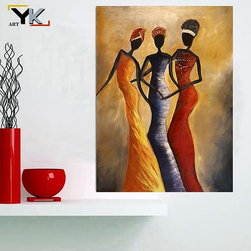 Fashionable African woman Art Painting Print on Canvas