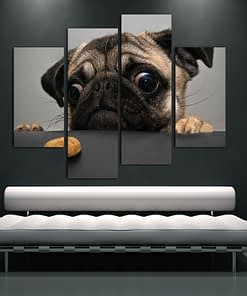 """4Pcs Modern Art """" Adorable Looking Dog """" Printed on Canvas"""