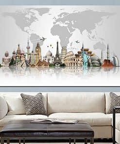 Abstract Famous Buildings Big Ben Eiffel Tower Map Modern Canvas Painting Poster Print Cuadros Wall Art Picture for Living Room