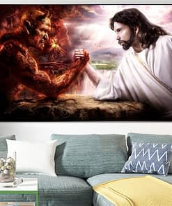 God Jesus Vs Satan Devil Art Picture On Canvas Painting Poster And Prints Religion Wall Art Decoration For Christian Living Room