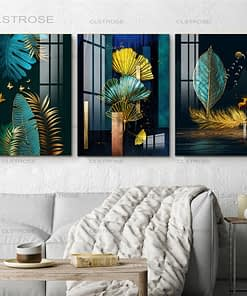 Blue, Green and Gold Leaves Abstract Art Painting Printed on Canvas