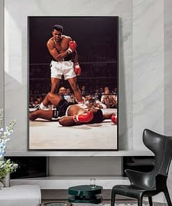 Memorable Moment of Muhammad Ali with Sonny Liston, Famous Boxer Inspirational Poster Printed on Canvas