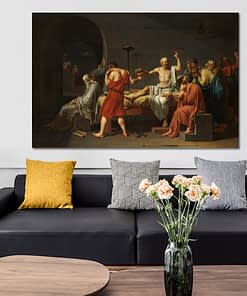 Famous Painting The death of Socrates, Wall Art Painting Print on Canvas