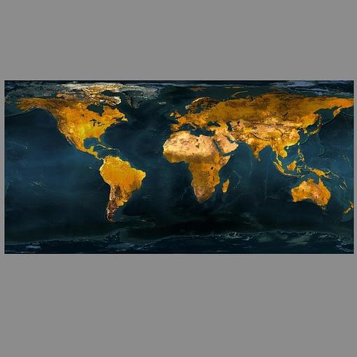 Art Painting Gold Globe World Map Print On Canvas