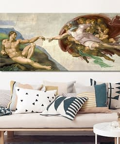 Sistine Chapel Ceiling Fresco of Michelangelo, Creation of Adam Poster Print on Canvas Wall Art Picture for Living Room Decor