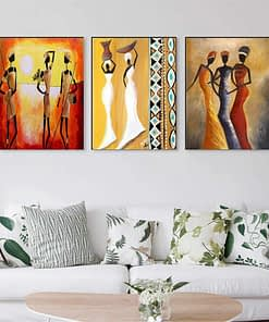 Modern Art Painting of African Women, Printed on Canvas