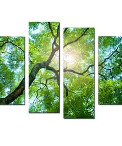4Pcs Green Tree Canvas Paintings Wall Decorative Print Art Pictures Frameless Wall Hanging Decorations for Home Office