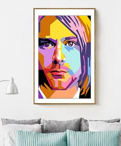 Music Star Poster Kurt Cobain Rock Music Singer Oil Painting HD Print Wall Art Pictures for Living Room Home Decor