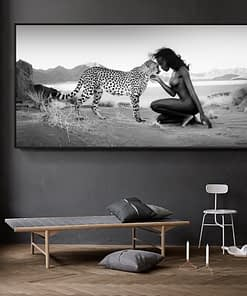 Black White Natural Landscape Posters Prints Wall Art Canvas Painting Snow Leopard Sexy Nude Women Picture for Living Room Decor