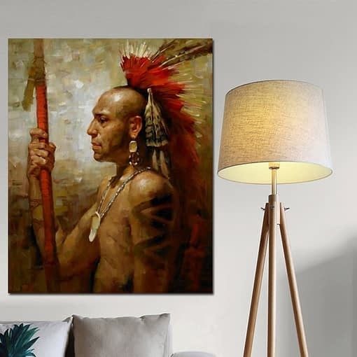 YWDECOR Abstract Native indian Feathered Portrait Canvas Painting Poster and Print Pop Art Wall Picture for Living Room