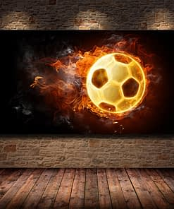 Soccer Ball On Fire Rainbow Modern Wall Posters And Prints Football Abstract Wall Art Canvas Paintings For Living Room Cuadros