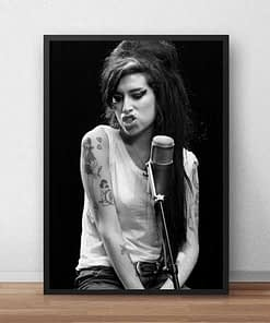 Poster of Amy Winehouse Famous British Singer and Songwriter Printed on Canvas
