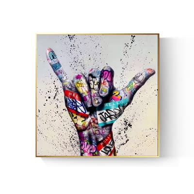 Graffiti Art The Shaka Sign, Modern Abstract Wall Art Printed on Canvas