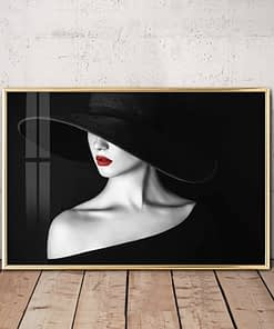 Fashionable Women in Black Hat, Black and White Vogue Poster Printed on Canvas